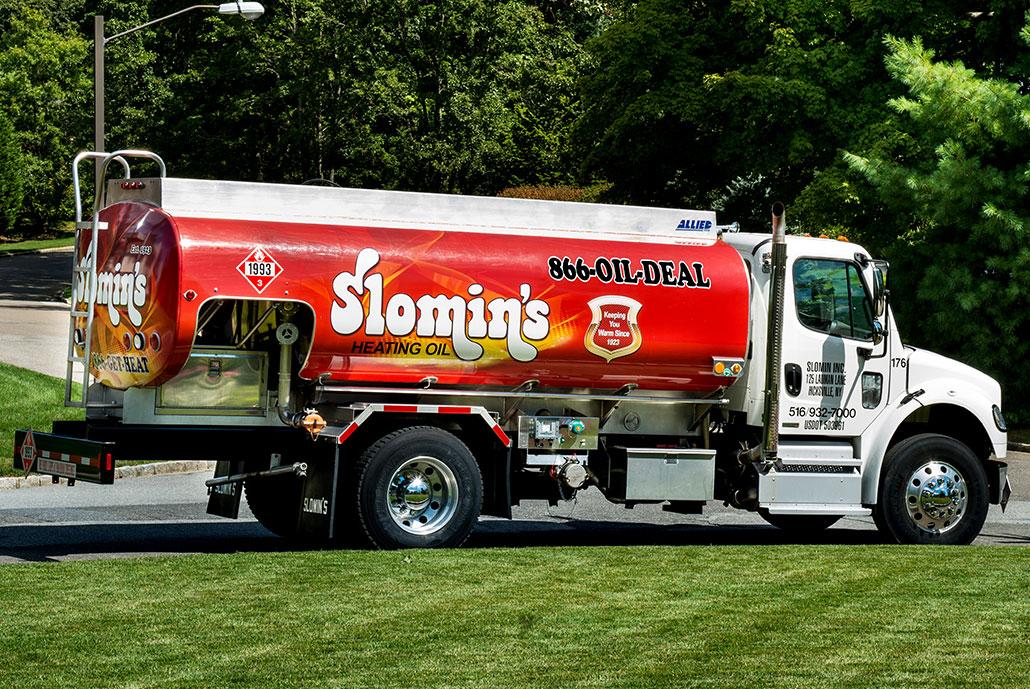 slomins state-of-the-art oil truck on residential street