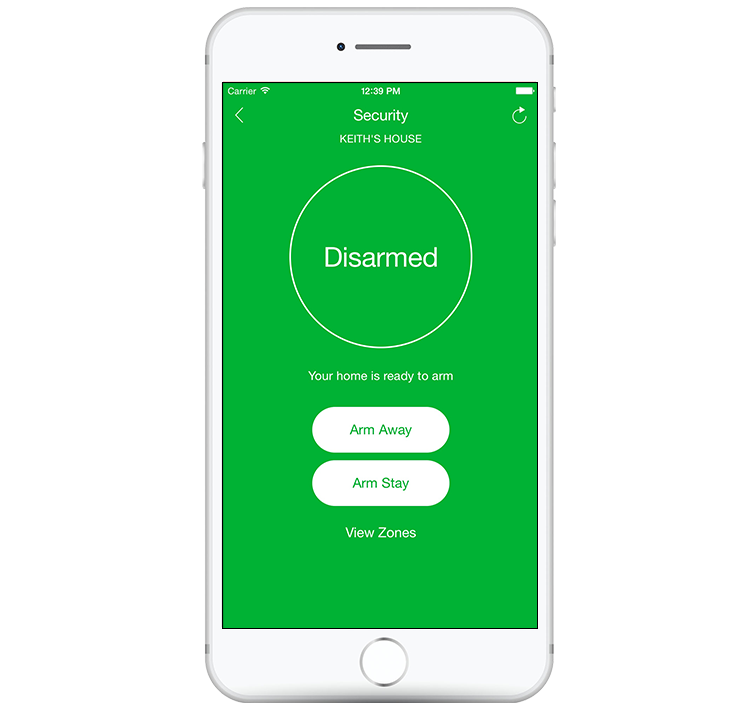 slomins app arm/disarm screenshot