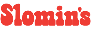 slomins bright red logo