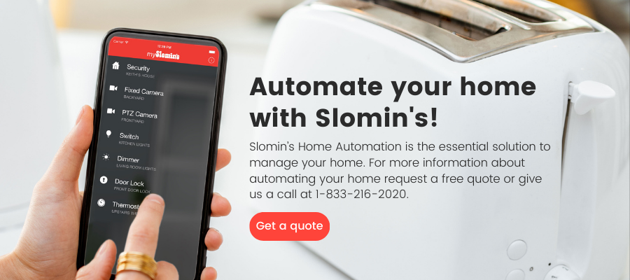Homeowner using Slomin's mobile app to control appliances
